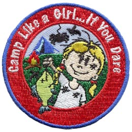 Camp, Girl, Fish, Spider, Tent, FIre, Dirt, Patch, Embroidered Patch, Merit Badge, Badge, Emblem, Iron On, Iron-On, Crest, Lapel Pin, Insignia, Girl Scouts, Boy Scouts, Girl Guides