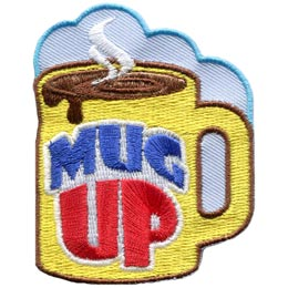 Mug, Up, Mug Up, Camp, Hot, Chocolate, Liquid, Drink, Patch, Embroidered Patch, Merit Badge, Badge, Emblem, Iron On, Iron-On, Crest, Lapel Pin, Insignia, Girl Scouts, Boy Scouts, Girl Guides