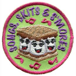 Three marshmallows sing happily between chocolate and gram crackers. The words ''Songs, Skits & S'mores'' are embroidered in purple around the top arch of this round patch. Pink musical notes are depicted on the patch as well.