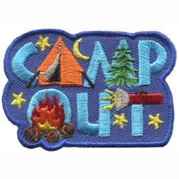 The words ''Camp Out'' are decorated with camping items. The 'A' is a tent, the last line of the 'M' is a tree, the 'O' is filled with the flames of a campfire, and the 'T' is crossed with a beaming flashlight.