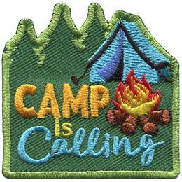 Three trees on the left represent a forest and on the right a pitched tent sits near a campfire. The text 'Camp is Calling' sits at the middle-left of this roughly square patch.