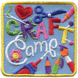 This square badge has the words 'Craft Camp' embroidered on it. A needle and thread stitch the 'R' in 'Craft'. A heart, scissors, pencil crayons, pins, a paint brush, a bottle of glue, and a flower all decorate the background.