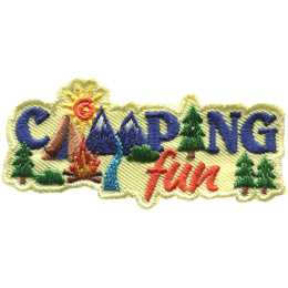 This crest has the word \'Camping\' stacked on top of the word \'Fun\'. The letters in camping are pictures of different camping scenes or items. The \'A\' is a tent, the \'M\' is double peaked mountains with a river running through the middle, and the \'I\' is a evergreen tree.