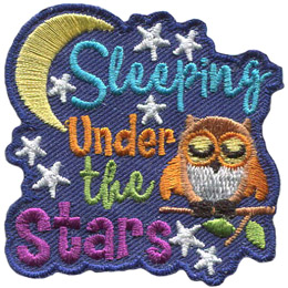 An owl sleeps with its wings slightly open on a branch with two leaves. The text 'Sleeping Under The Stars' is stacked to the owl's left. A crescent moon curves around the word 'Sleeping' and stars are scattered throughout the background.