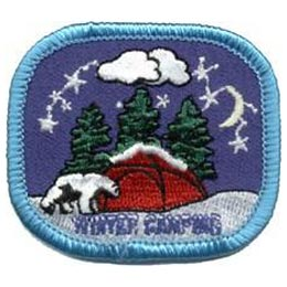 Winter, Camping, Snow, Tent, Patch, Embroidered Patch, Merit Badge, Badge, Emblem, Iron On, Iron-On, Crest, Lapel Pin, Insignia, Girl Scouts, Boy Scouts, Girl Guides