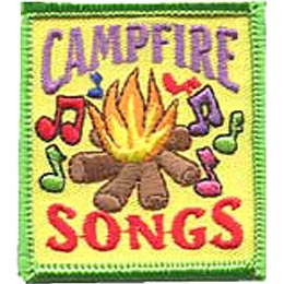 Camp, Song, Singing, Sing, Music, Campfire, Patch, Embroidered Patch, Merit Badge, Iron On, Iron-On, Crest, Girl Scouts, Boy Scouts, Girl Guides