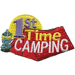 A red tent dominates this patch image while a golden moon rises in the background. A camping lantern rests next to the tent. The word ''1st'' sits in the moon, and ''Time Camping.''
