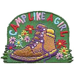 Camp, Girl, Boot, Hike, Hiking, Flower, Patch, Embroidered Patch, Merit Badge, Iron On, Iron-On, Crest, Girl Scouts, Boy Scouts, Girl Guides