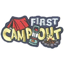 Camp, Girl, First, Hike, Tent, Campfire, Fire, Lantern, Patch, Embroidered Patch, Merit Badge, Iron On, Iron-On, Crest, Girl Scouts, Boy Scouts, Girl