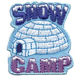 An Igloo sits in the cold surrounded by the word ''Snow'' on top and ''Camp'' underneath.