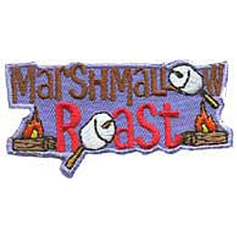 The words ''Marshmallow Roast'' dominate this patch and each O in the lettering has been replaced by a marshmallow skewered on a stick. A campfire rests on either side of ''Roast,'' one on the left and one on the right.