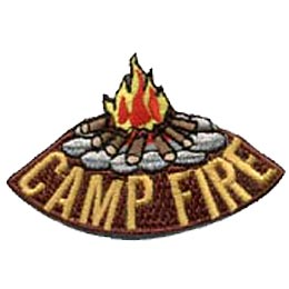 A blazing campfire rests on a tee-pee of logs, secure among a circle of stone. The words ''Camp Fire'' are embroidered underneath the campfire image.