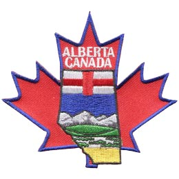 Canada, Alberta, Province, Flag, Maple Leaf, Leaf, Patch, Embroidered Patch, Merit Badge, Badge, Emblem, Iron On, Iron-On, Crest, Lapel Pin, Insignia, Girl Scouts, Boy Scouts, Girl Guides