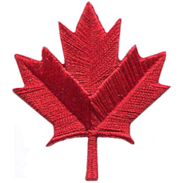 A sylized, red maple leaf. This Canadian symbol is a leaf with 9 tapering and pointed lobes.