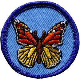 Monarch Butterfly, Butterfly, Wing, Patrol, Badge, Patch, Embroidered Patch, Merit Badge, Badge, Emblem, Iron On, Iron-On, Crest, Lapel Pin, Insignia, Girl Scouts, Boy Scouts, Girl Guides