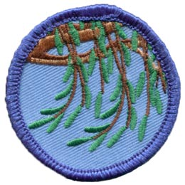 Willow, Tree, Branch, Leaf, Leaves, Circle, Patch, Embroidered Patch, Merit Badge, Badge, Emblem, Iron On, Iron-On, Crest, Lapel Pin, Insignia, Girl Scouts, Boy Scouts, Girl Guides
