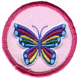 Butterfly, Insect, Colour, Rainbow, Circle, Patch, Embroidered Patch, Merit Badge, Badge, Emblem, Iron On, Iron-On, Crest, Lapel Pin, Insignia, Girl Scouts, Boy Scouts, Girl Guides