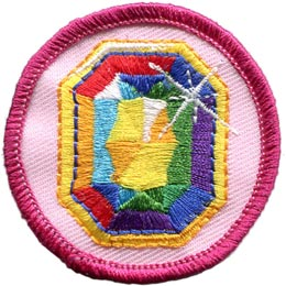 Jewel, Gem, Circle, Badge, Patrol, Badge, Embroidered Patch, Merit Badge, Badge, Emblem, Iron On, Iron-On, Crest, Lapel Pin, Insignia, Girl Scouts, Boy Scouts, Girl Guides
