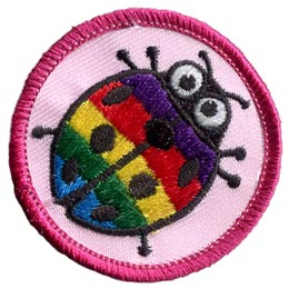 Lady, Lady Bug, Circle, Badge, Patrol, Badge, Insect, Embroidered Patch, Merit Badge, Badge, Emblem, Iron On, Iron-On, Crest, Lapel Pin, Insignia, Girl Scouts, Boy Scouts, Girl Guides