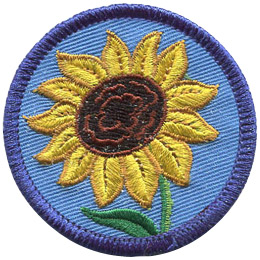 This round badge displays a blooming sunflower.