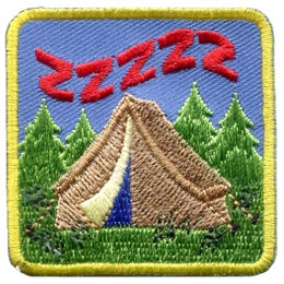 Snoring, Tent, Sleep, Saw, Logs, Patch, Embroidered Patch, Merit Badge, Badge, Emblem, Iron On, Iron-On, Crest, Lapel Pin, Insignia, Girl Scouts, Boy Scouts, Girl Guides