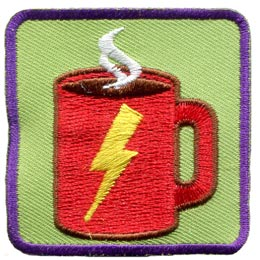 Caffine, Coffee, Energy, Patch, Embroidered Patch, Merit Badge, Badge, Emblem, Iron On, Iron-On, Crest, Lapel Pin, Insignia, Girl Scouts, Boy Scouts, Girl Guides