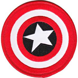 This round patch is Captain America's old fashioned red, white, and black shield. A white star lies in the center.