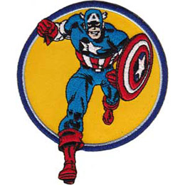 Super hero Captain America runs towards the viewer. The background is a yellow circle.