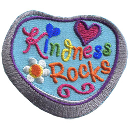This rock shaped patch has the words 'Kindness Rocks' embroidered amongst a heart and a flower.