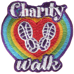 Two shoe prints are inside a red heart which grows in size as it changes colours (going from red, to yellow, to green, to blue, then to purple). The word 'Charity' sits at the top of the patch and 'Walk' rests at the bottom.