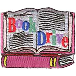 Book Drive, Books, Patch, Embroidered Patch, Merit Badge, Crest, Girl Scouts, Boy Scouts, Girl Guides