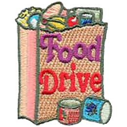Food Drive, Groceries, Grocery Bag, Help, Merit Badge, Patch, Crest, Girl Scouts, Girl Guides, Boy Scouts