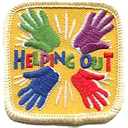 Help, Helping Out, Hand, Hands, Patch, Embroidered Patch, Merit Badge, Crest, Girl Scouts, Boy Scouts, Girl Guides
