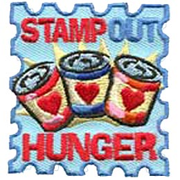 Hunger, Food, Starve, Homeless, Poor, Poverty, Malnutrition, Staving, Groceries, Heart, Stamp, Patch, Embroidered Patch, Merit Badge, Iron On, Iron-On