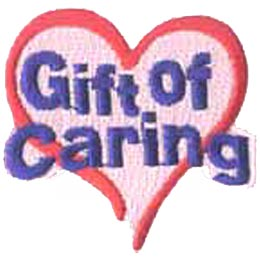 Gift, Care, Caring, Heart, Love, Patch, Embroidered Patch, Merit Badge, Badge, Emblem, Iron On, Iron-On, Crest, Lapel Pin, Insignia, Girl Scouts, Boy Scouts, Girl Guides