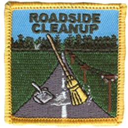 Road, Roadside, Highway, Hiway, Broom, Clean, Sweep, Garbage, Trash, Patch, Embroidered Patch, Merit Badge, Iron On, Iron-On, Crest, Girl Scouts, Boy