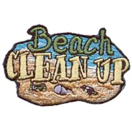 Beach, Clean Up, Clean, Cleanup, Sand, Shore, Patch, Embroidered Patch, Merit Badge, Badge, Emblem, Iron On, Iron-On, Crest, Lapel Pin, Insignia, Girl Scouts, Boy Scouts, Girl Guides