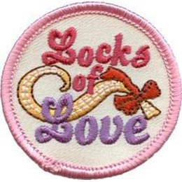 Locks of Love, Hair, Comb, Brush, Scissors, Help, Patch, Embroidered Patch, Merit Badge, Crest, Girl Scouts, Boy Scouts, Girl Guides