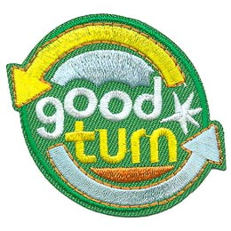 Good, Turn, Arrow, Kind, Deed, Patch, Embroidered Patch, Merit Badge, Badge, Emblem, Iron On, Iron-On, Crest, Lapel Pin, Insignia, Girl Scouts, Boy Scouts, Girl Guides