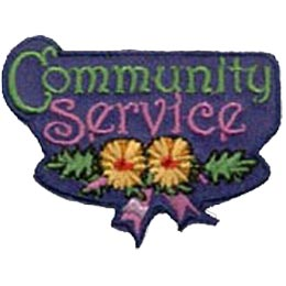 The words ''Community Service'' take up most of this patch.  Underneath the words are two yellow flowers with green leaves, tied together with a decorative ribbon.