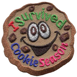 This patch is a chocolate chip cookie with wide eyes and a happy smile. The text 'I Survived is at the top and 'Cookie Season is at the bottom.