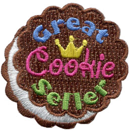 Cookie, Great, Seller, Award, Patch, Embroidered Patch, Merit Badge, Badge, Emblem, Iron On, Iron-On, Crest, Lapel Pin, Insignia, Girl Scouts, Boy Scouts, Girl Guides