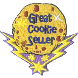 Great, Cookie, Seller, Sale, Fund, Fundraise, Patch, Embroidered Patch, Crest, Merit Badge, Girl Scouts, Boy Scouts, Girl Guides