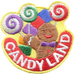 Candy, Land, Cookie, Ginger, Gingerbread, Patch, Embroidered Patch, Merit Badge, Badge, Emblem, Iron On, Iron-On, Crest, Lapel Pin, Insignia, Girl Scouts, Boy Scouts, Girl Guides