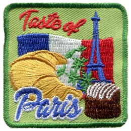 This square badge represents the 'Taste of Paris' with icons from France such as the country's flag, the Eiffel Tower, and of course delicious looking pastries such as a croissant.