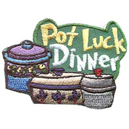 Pot, Luck, Dinner, Cook, Meal, Food, Patch, Embroidered Patch, Merit Badge, Badge, Emblem, Iron On, Iron-On, Crest, Lapel Pin, Insignia, Girl Scouts, Boy Scouts, Girl Guides