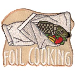 Foil, Cook, Fire, Food, Patch, Embroidered Patch, Merit Badge, Badge, Emblem, Iron On, Iron-On, Crest, Lapel Pin, Insignia, Girl Scouts, Boy Scouts, Girl Guides