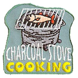 Charcoal, Briquette, Coal, Cook, BBQ, Patch, Embroidered Patch, Merit Badge, Badge, Emblem, Iron On, Iron-On, Crest, Lapel Pin, Insignia, Girl Scouts,