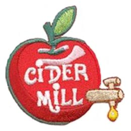 Cider, Mill, Apple, Fresh, Fruit,  Patch, Embroidered Patch, Merit Badge, Badge, Emblem, Iron On, Iron-On, Crest, Lapel Pin, Insignia, Girl Scouts, Boy Scouts, Girl Guides