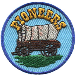 A old covered wagon sits under a heading that says 'Pioneers'.